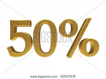 50 percent off. Discount 50. 3D illustration