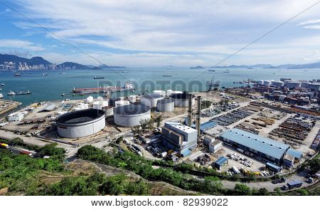 petrochemical industrial plant under blue sky, hong kong day