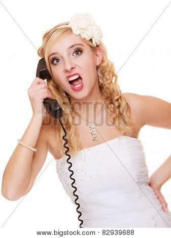 Wedding. Angry Woman Fury Bride Talking On Phone