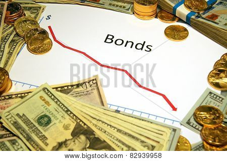 chart graph of bonds falling down or dropping with gold and money poster