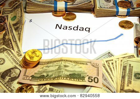 chart graph of nasdaq rising and growing up with gold and money poster