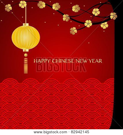 Chinese new year background with Chinese New Year decorative elements. Vector Illustration.