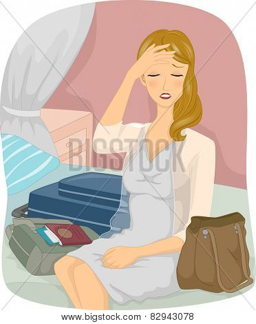 Jet Lag Girl/Illustration of a Woman Suffering From Jet Lag