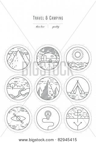 Vintage set - design elements - travel & camping, thin line ( variable line width )