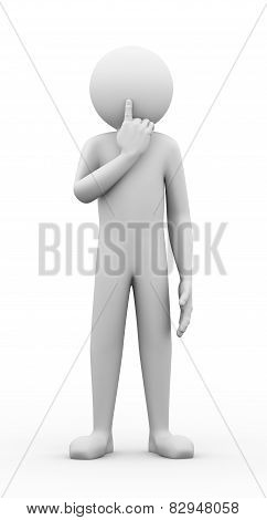 3D Man Silence Gesture Pose