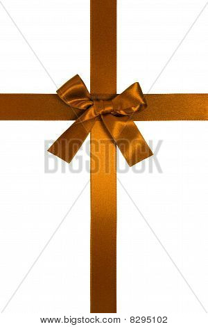 Golden-brown Vertical Cross Ribbon With Bow