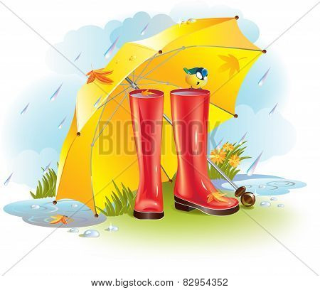 Gumboots under umbrella