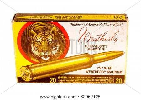 Hayward, CA - February 10, 2015: Weatherby 257 Weatherby Magnum caliber centerfire rifle ammunition box