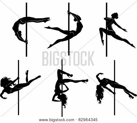 Six pole dancers