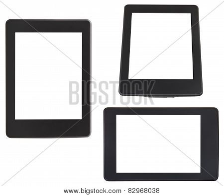 Set Of E-book Reader With Cut Out Screen Isolated