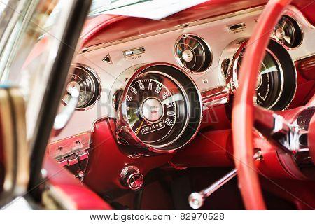 Red Dash Board Of A Classic American Car