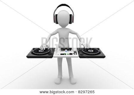 3d man DJ mixing
