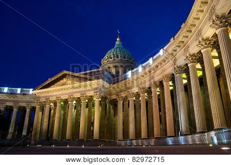 Night scene of Kazan (Kazanskiy) Cathedral in Saint-Petersburg. Russia. Located on Nevsky Prospekt in the center of the city poster