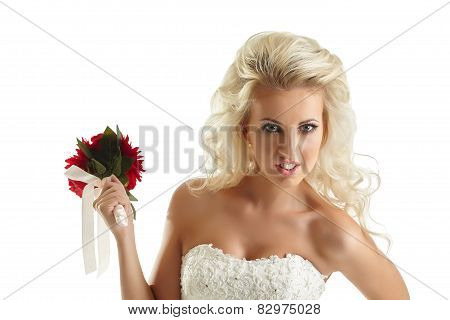 Portrait of disaffected bride with bouquet