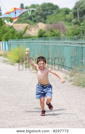 Little Boy Flying Kite