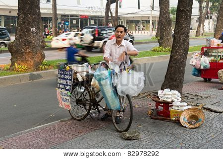 Street Vendor With Bike