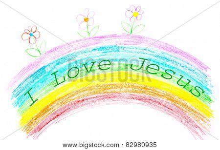Child's drawing, I love Jesus text writing on rainbow