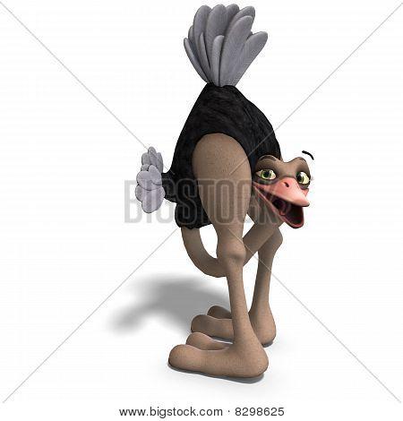 cute toon ostrich gives so much fun