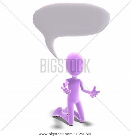 3d male icon toon character tries to explain some