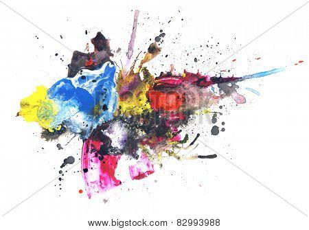 Creative abstract mixed media background or texture,design element, isolated on paper background