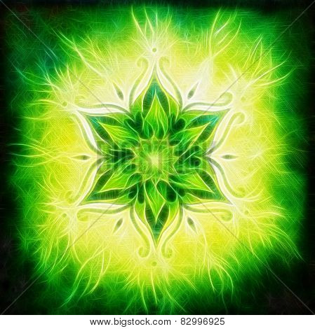 Flower Mandala On A Green Background Fractal Effect