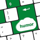 Computer keyboard with humor key - social concept poster