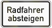 German traffic sign additional panel to specify the meaning of other signs: Cyclists dismount. poster