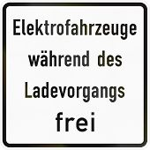 German traffic sign additional panel to specify the meaning of other signs: Electric vehicles allowed while charging. poster