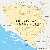 Bosnia and Herzegovina Political Map with capital Sarajevo, national borders, important cities, rivers and lakes. English labeling and scaling. Illustration. poster