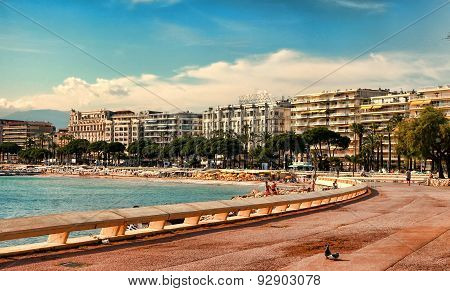 Cannes, France -  July 5, 2014. The Beach In Cannes. Cannes Located In The French Riviera.