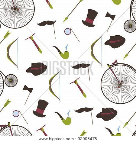 Bicycles, Mustaches, Ball, Arrow, Smoking Pipe, Seamless Backgro