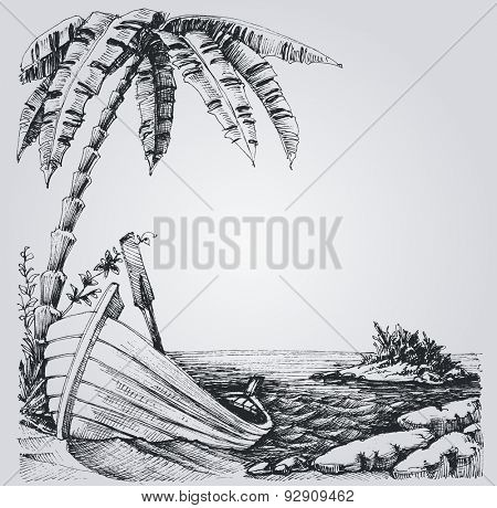 Tropical island sketch, sea shore, palm trees and boat summer design