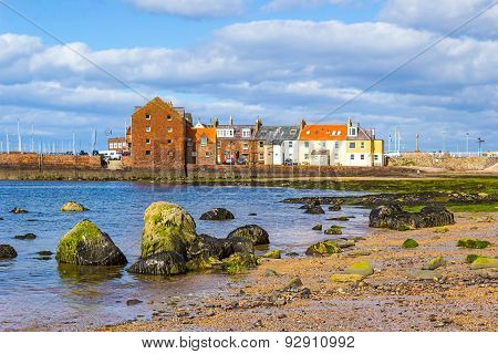 Beach at North Berwick with the view on the harbour Scotland Europe