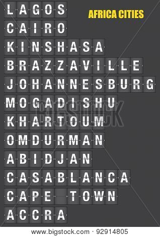 Names of African cities on old fashion split-flap display like travel destinations in airport flight information display system and railway stations timetable. Vector illustration. poster
