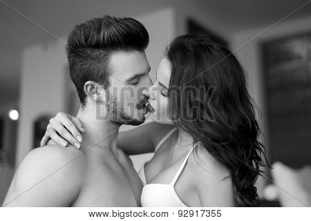 Sexy Couple Kissing At Home Black And White