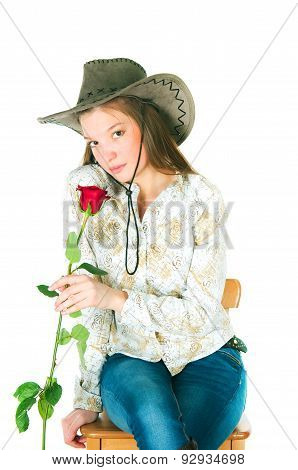 The Girl With A Rose In A Cowboy's Hat