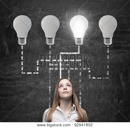 Beautiful Woman Is Thinking About Business Management Process. Lightbulbs As A Concept Of The Best B