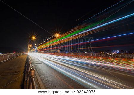 Traffic trail at night at the bridge at Changsha