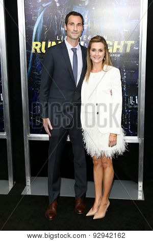 NEW YORK-MAR 9: Screenwriter Brad Ingelsby (L) and Lindsey Ingelsby attend the premiere of