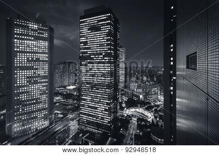 Tokyo City - Shinjuku district at night - future city