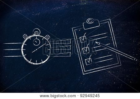 time management: stopwatch and completed task list poster