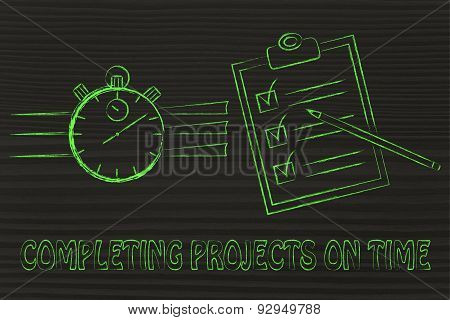 Stopwatch And To Do List, Completing Projects On Time