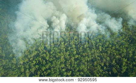 Aerial View Of A Bushfire In Kakadu National Park, Northern Territory, Australia