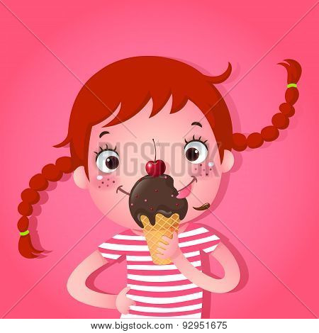 Cute Girl Eating Icecream