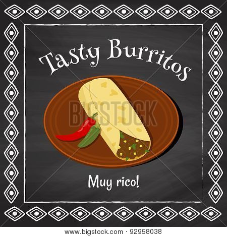 "vector poster template on a chalkboard background with burrito illustration and spanish text ""muy rico"" which is translated as ""very tasty"" poster"
