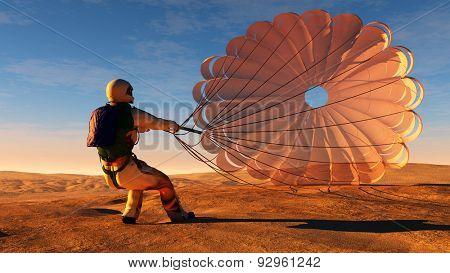 Parachutist a parachute in the sky.