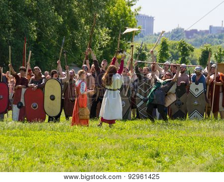 Germans barbarians and Celts bring the sacrifice before the battle with the Romans