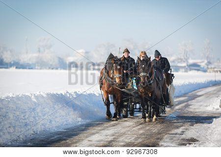 Tourists in carriage, Hohenschwangau, Germany