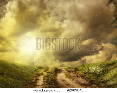 Road To The Hill In The Clouds