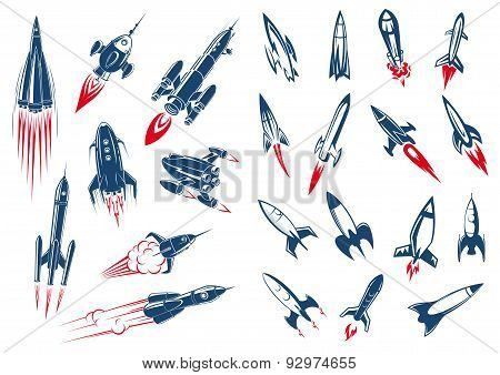 Space rocket ships and military missiles